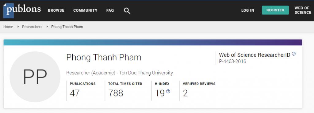 Ảnh chụp thông tin của TS. Phạm Thanh Phong trên Web of Science